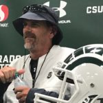 Mike Bobo after practice on Tuesday, Aug. 6. Credit: Rich Kurtzman.