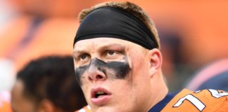 Garett Bolles. Credit: Ron Chenoy, USA TODAY Sports.