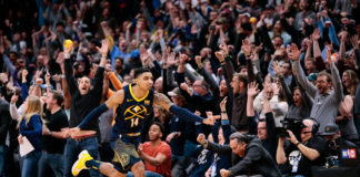 Denver Nuggets guard Gary Harris (14) celebrates after scoring the game winning basket at the end of the fourth quarter against the Oklahoma City Thunder at the Pepsi Center.