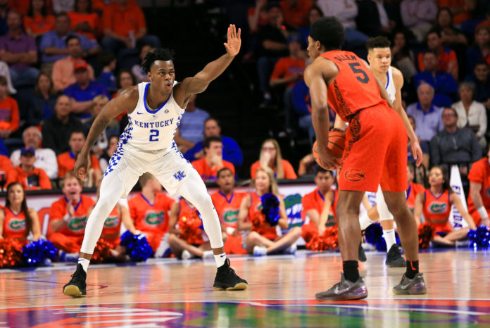 Kentucky Wildcats forward Jarred Vanderbilt (2) guards Florida Gators guard KeVaughn Allen (5) at Exactech Arena at the Stephen C. O'Connell Ce.