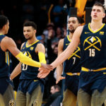 Denver Nuggets guard Gary Harris (14) and guard Jamal Murray (27) and forward Trey Lyles (7) and center Nikola Jokic (15) in the fourth quarter against the Los Angeles Clippers at the Pepsi Center.