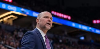 Denver Nuggets head coach Michael Malone in the second quarter against Minnesota Timberwolves at Target Center.
