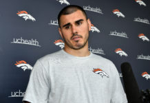 May 12, 2018; Englewood, Denver, USA; Denver Broncos quarterback Chad Kelly (85) speaks to the media following rookie minicamp drills at the UCHealth Training Center. Mandatory Credit: Ron Chenoy-USA TODAY Sports