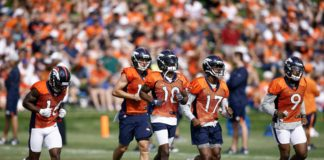 Denver Broncos wide receivers Emmanuel Sanders (10) and Isaiah McKenzie (16) and River Cracraft (15) and DaeSean Hamilton (17) and John Diarse (9) during morning practice on the first day of training camp at UCHealth Training Center
