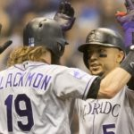 Carlos Gonzalez and Charlie Blackmon celebrate CarGo's homer in the sixth. Credit: Jeff Hanisch, USA TODAY Sports.