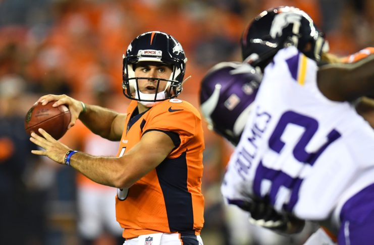 Chad Kelly winds up to throw against the Vikings on Saturday in preseason. Credit: Ron Chenoy, USA TODAY Sports.
