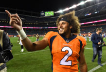 Denver Broncos running back Phillip Lindsay (2) leaves the field following the preseason loss to the Minnesota Vikings at Broncos Stadium at Mile High.