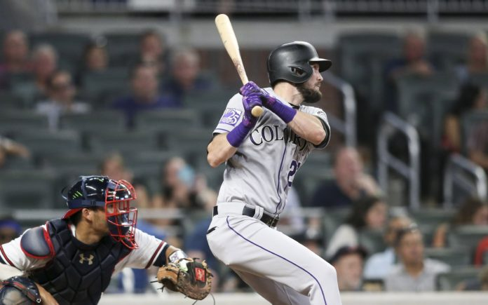 David Dahl's clutch hit in the ninth inning. Credit: Brett Davis, USA TODAY Sports.