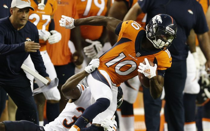 Emmanuel Sanders catch. Credit: Isaiah J. Downing, USA TODAY Sports.
