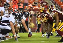 Broncos offensive line, Redskins defensive line. Credit: Brad Mills, USA TODAY Sports.
