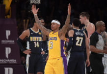 Los Angeles Lakers guard Isaiah Thomas (3) celebrates in the fourth quarter against the Denver Nuggets during an NBA basketball game at Staples Center. The Lakers defeated the Nuggets 112-103.