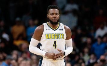 Denver Nuggets forward Paul Millsap (4) before the game against the Sacramento Kings at the Pepsi Center.