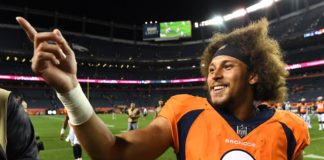 Phillip Lindsay. Credit: Ron Chenoy, USA Today Sports.