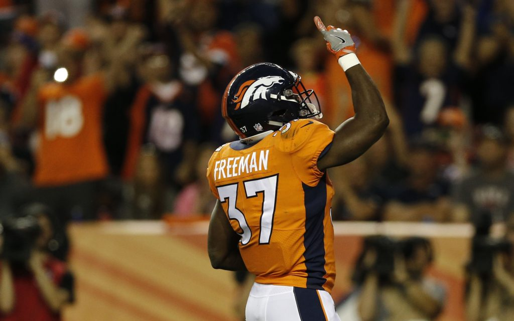 Royce Freeman touchdown. Credit: Isaiah J. Downing, USA TODAY Sports.