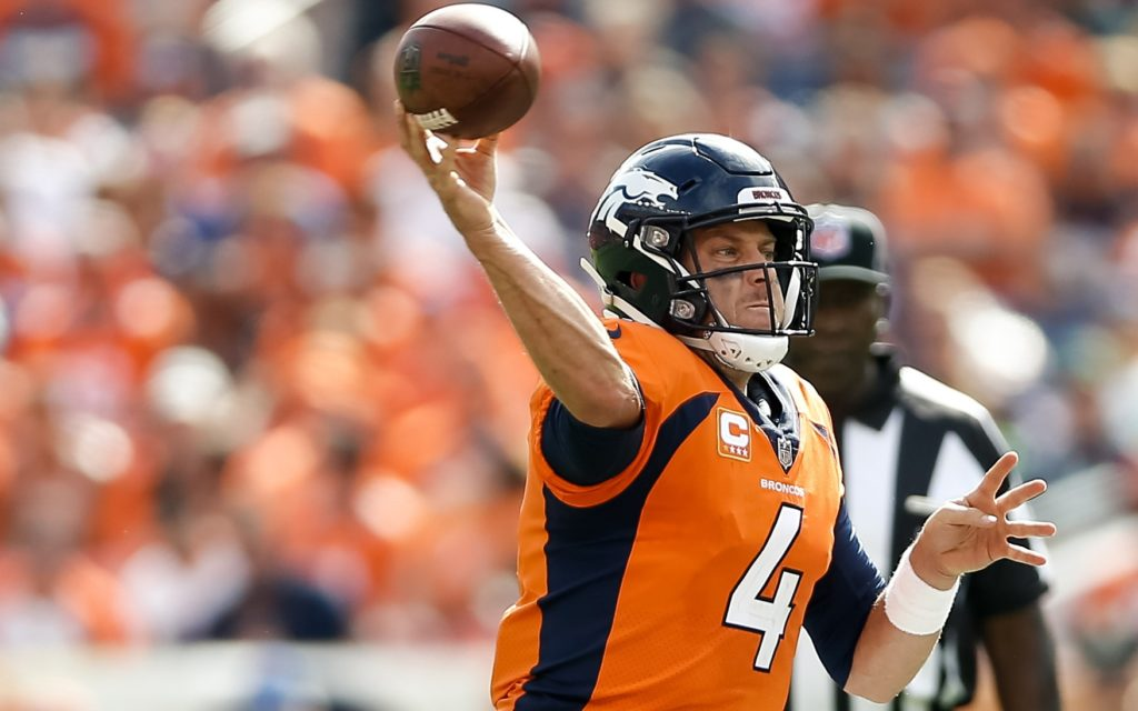 Case Keenum throws on the run. Credit: Isaiah J. Downing, USA TODAY Sports.