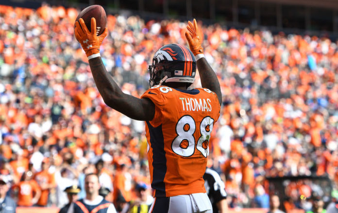 Denver Broncos wide receiver Demaryius Thomas (88) looks for a touchdown call by the officials in the fourth quarter against the Seattle Seahawks at Broncos Stadium at Mile High.
