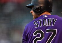 Trevor Story. Credit: Ron Chenoy, USA Today Sports.
