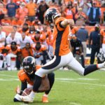 Brandon McManus kicks the game-winner against Oakland last weekend. Credit: Ron Chenoy, USA TODAY Sports.