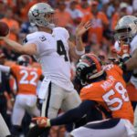 Derek Carr passes from a clean pocket. Credit: Kirby Lee, USA TODAY Sports.