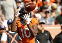 Emmanuel Sanders catches a deep ball. Credit: Isaiah J. Downing, USA TODAY Sports.