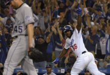 Yasiel Puig celebrates his home run while Scott Oberg walks away in sadness. Credit: Jayne Kamin-Oncea, USA TODAY Sports.
