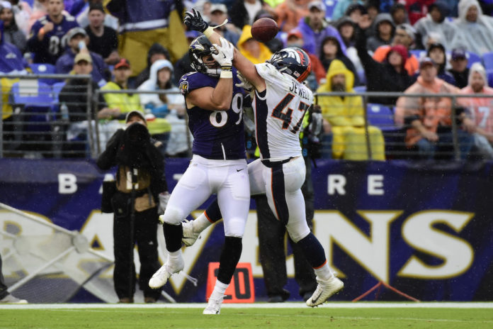 Denver Broncos linebacker Josey Jewell (47) breaks up a pass intended fro Baltimore Ravens tight end Mark Andrews (89) during the third quarter at M&T Bank Stadium.