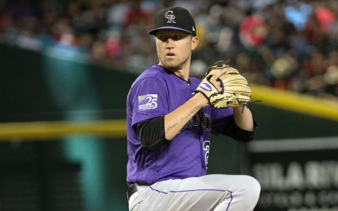 Kyle Freeland pitching. Credit: Allan Henry, USA TODAY Sports.