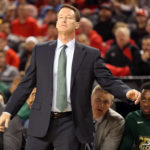 Charlotte 49ers head coach Mark Price reacts to the action against the Maryland Terrapins at Royal Farms Arena.