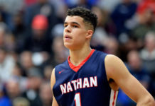 Nathan Hale High School Raiders player Michael Porter Jr. (1) at Blake Arena.