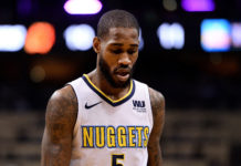Denver Nuggets guard Will Barton (5) reacts on the court against the Phoenix Suns in the first half at Talking Stick Resort Arena.