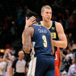 Denver Nuggets center Mason Plumlee (24) celebrates with guard Torrey Craig (3) after the game against the New Orleans Pelicans at the Pepsi Center.