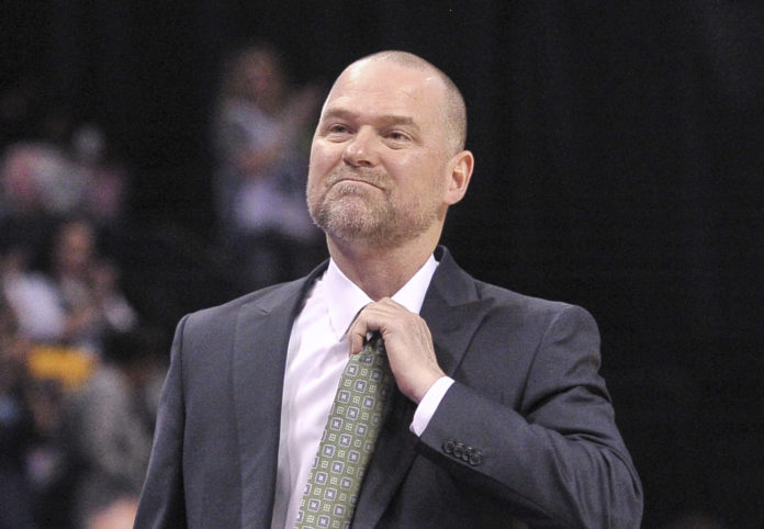 Denver Nuggets head coach Michael Malone during the second half against the Memphis Grizzlies at FedExForum. Memphis Grizzlies defeats the Denver Nuggets 101-94.