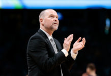 Denver Nuggets head coach Michael Malone reacts in the second quarter against the Detroit Pistons at the Pepsi Center.
