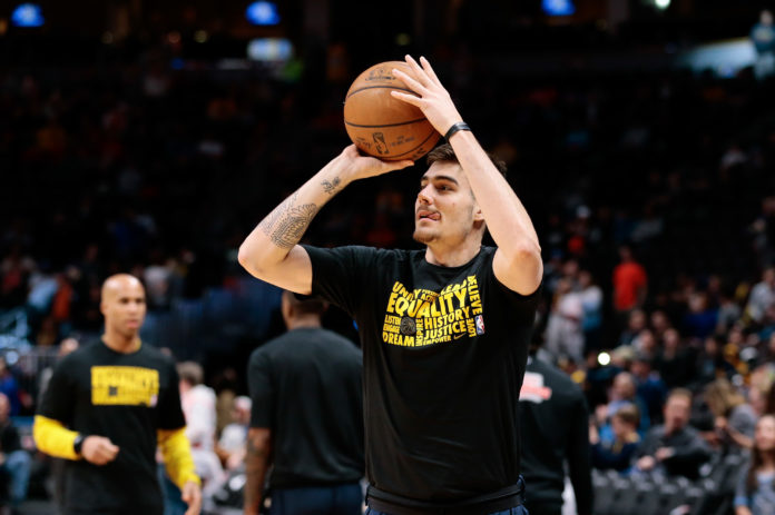 Denver Nuggets forward Juancho Hernangomez (41) warms up before the game against the Houston Rockets at the Pepsi Center.