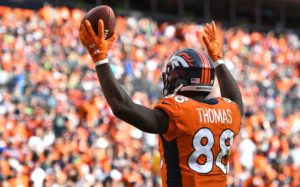 Demaryius Thomas celebrates a touchdown for the Broncos. Credit: Ron Chenoy, USA TODAY Sports.