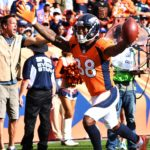 Demaryius Thomas celebrates a TD. Credit: Ron Chenoy, USA TODAY Sports.