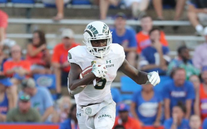 Marvin Kinsey runs against Florida. He's shown bursts of speed all season long but has been limited in his carries. Credit: Kim Klement, USA TODAY Sports.