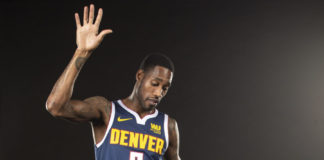 Denver Nuggets forward Will Barton (5) poses for a photo during media day at the Pepsi Center.