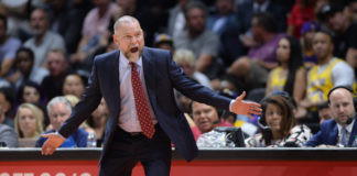 Denver Nuggets head coach Michael Malone reacts during the second quarter against the Los Angeles Lakers at Valley View Casino Center.