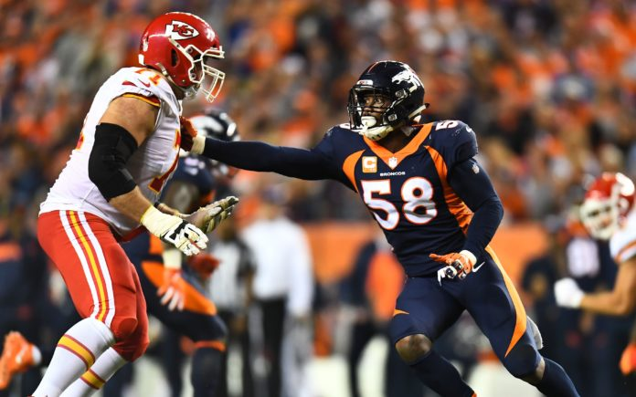 Von Miller was nearly nonexistent against the Chiefs. Credit: Ron Chenoy, USA TODAY Sports.