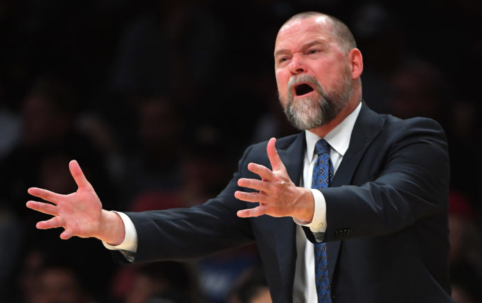 Denver Nuggets head coachMIchael Malone reacts on the sidelines in the first half of the game against the Los Angeles Lakers at Staples Center.