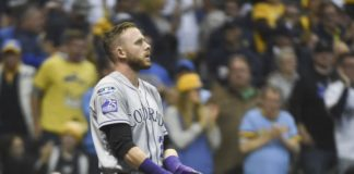 Trevor Story after a strikeout. Credit: Benny Sieu, USA TODAY Sports.