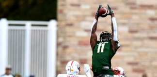 Preston Williams goes high for a touchdown. Credit: Ron Chenoy, USA TODAY Sports.