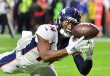 Courtland Sutton catches a TD from Emmanuel Sanders. Credit: Mark Kartozian, USA TODAY Sports.