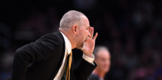 Denver Nuggets head coach Michael Malone calls out in the first quarter against the Sacramento Kings at Pepsi Center