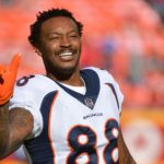 Demaryius Thomas before his final game as a Broncos player. Credit: Denny Medley, USA TODAY Sports.