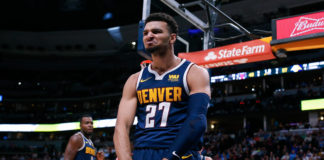 Denver Nuggets guard Jamal Murray (27) reacts after a play in the second quarter against the New Orleans Pelicans at the Pepsi Center.