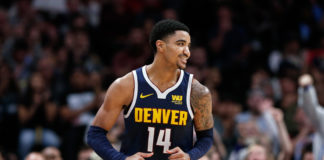 Denver Nuggets guard Gary Harris (14) reacts after a play in the fourth quarter against the New Orleans Pelicans at the Pepsi Center.