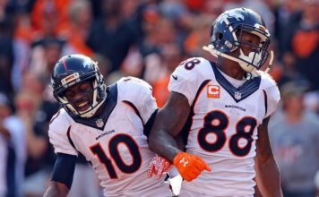 Emmanuel Sanders and Demaryius Thomas. Credit: Aaron Doster, USA TODAY Sports.
