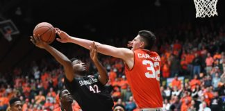 Nico Carvacho's length, shown here with the block, is huge for Colorado State, who usually lacks a true big man. Credit: Ron Chenoy, USA TODAY Sports.